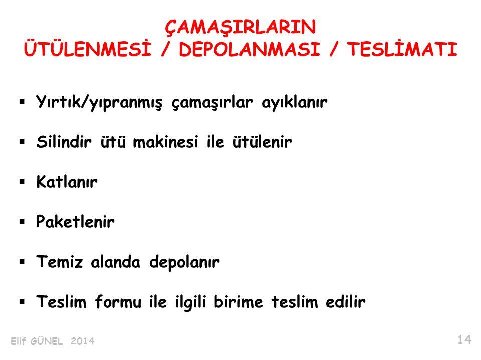 ÜTÜLENMESİ / DEPOLANMASI / TESLİMATI