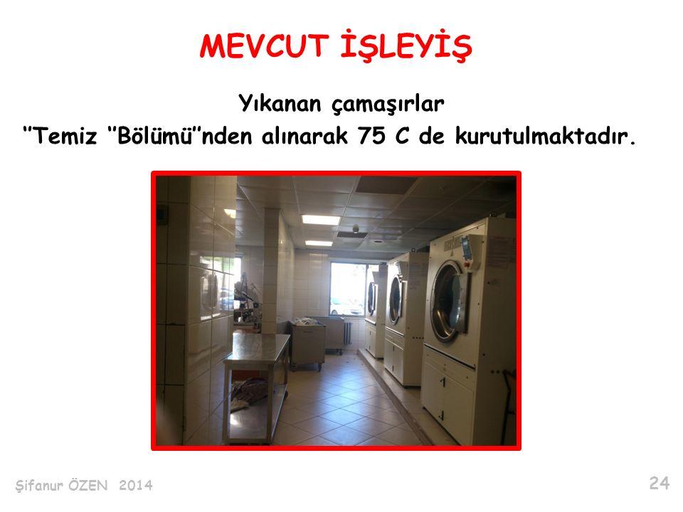 MEVCUT İŞLEYİŞ Yıkanan çamaşırlar ''Temiz ''Bölümü''nden alınarak 75 C de kurutulmaktadır.