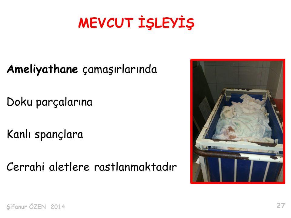 MEVCUT İŞLEYİŞ Ameliyathane çamaşırlarında Doku parçalarına Kanlı spançlara Cerrahi aletlere rastlanmaktadır