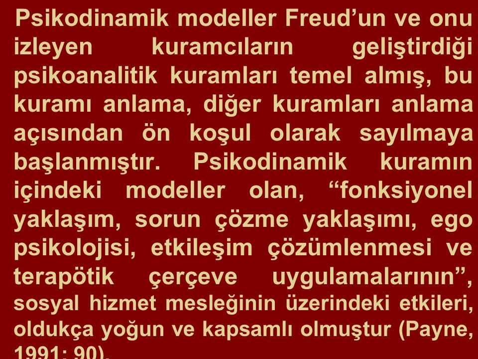 Psikodinamik modeller Freud'un ve onu izleyen kuramcıların geliştirdiği psikoanalitik kuramları temel almış, bu kuramı anlama, diğer kuramları anlama açısından ön koşul olarak sayılmaya başlanmıştır.