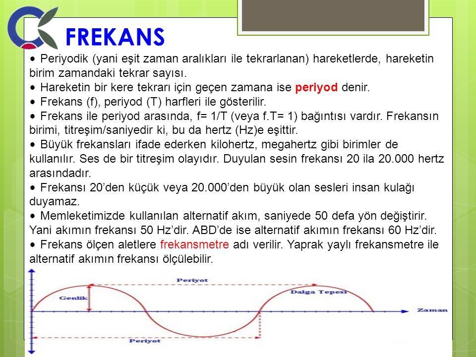 FREKANS • Periyodik (yani eşit zaman aralıkları ile tekrarlanan) hareketlerde, hareketin birim zamandaki tekrar sayısı.