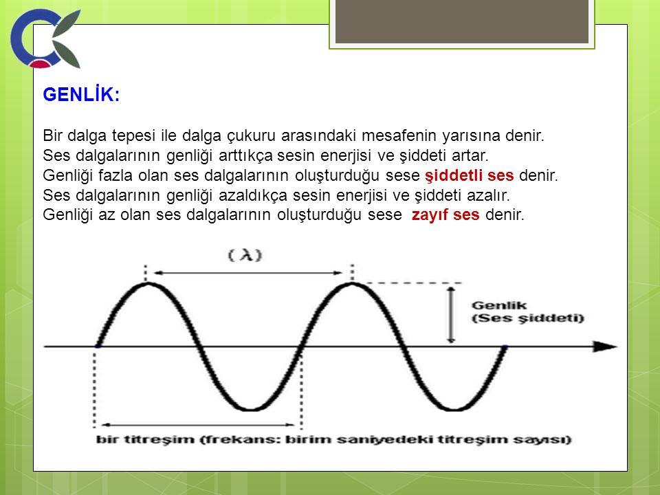 GENLİK: Bir dalga tepesi ile dalga çukuru arasındaki mesafenin yarısına denir. Ses dalgalarının genliği arttıkça sesin enerjisi ve şiddeti artar.