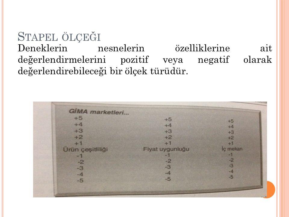 Stapel ölçeği Deneklerin nesnelerin özelliklerine ait değerlendirmelerini pozitif veya negatif olarak değerlendirebileceği bir ölçek türüdür.