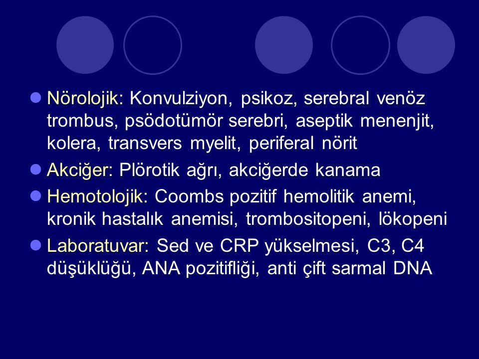 Nörolojik: Konvulziyon, psikoz, serebral venöz trombus, psödotümör serebri, aseptik menenjit, kolera, transvers myelit, periferal nörit
