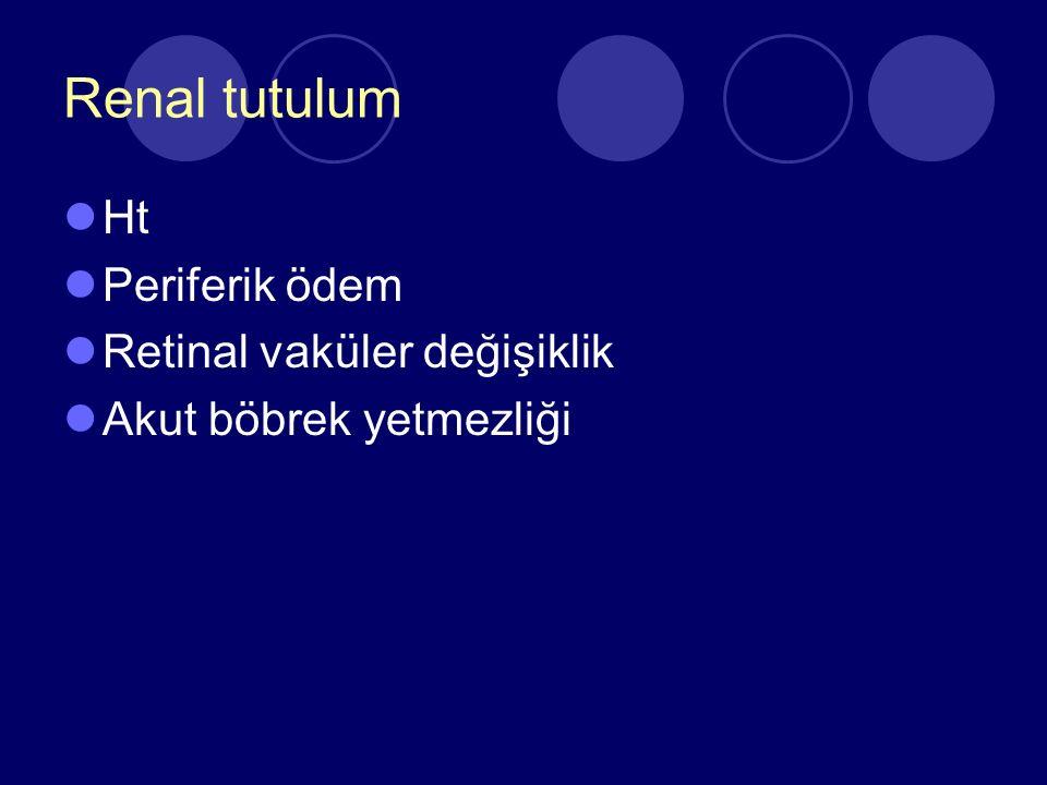 Renal tutulum Ht Periferik ödem Retinal vaküler değişiklik