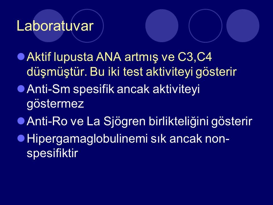 Laboratuvar Aktif lupusta ANA artmış ve C3,C4 düşmüştür. Bu iki test aktiviteyi gösterir. Anti-Sm spesifik ancak aktiviteyi göstermez.