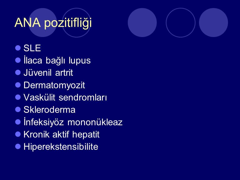 ANA pozitifliği SLE İlaca bağlı lupus Jüvenil artrit Dermatomyozit