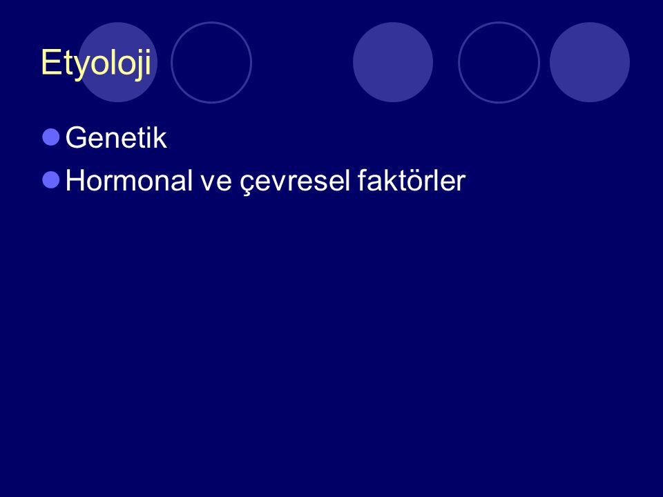 Etyoloji Genetik Hormonal ve çevresel faktörler