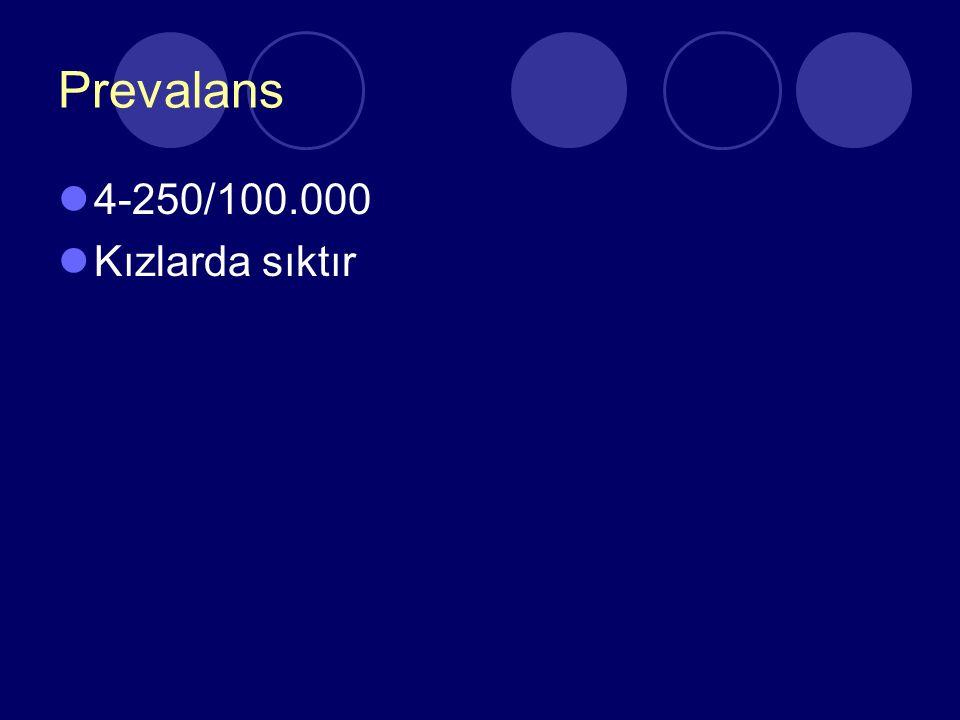 Prevalans 4-250/100.000 Kızlarda sıktır