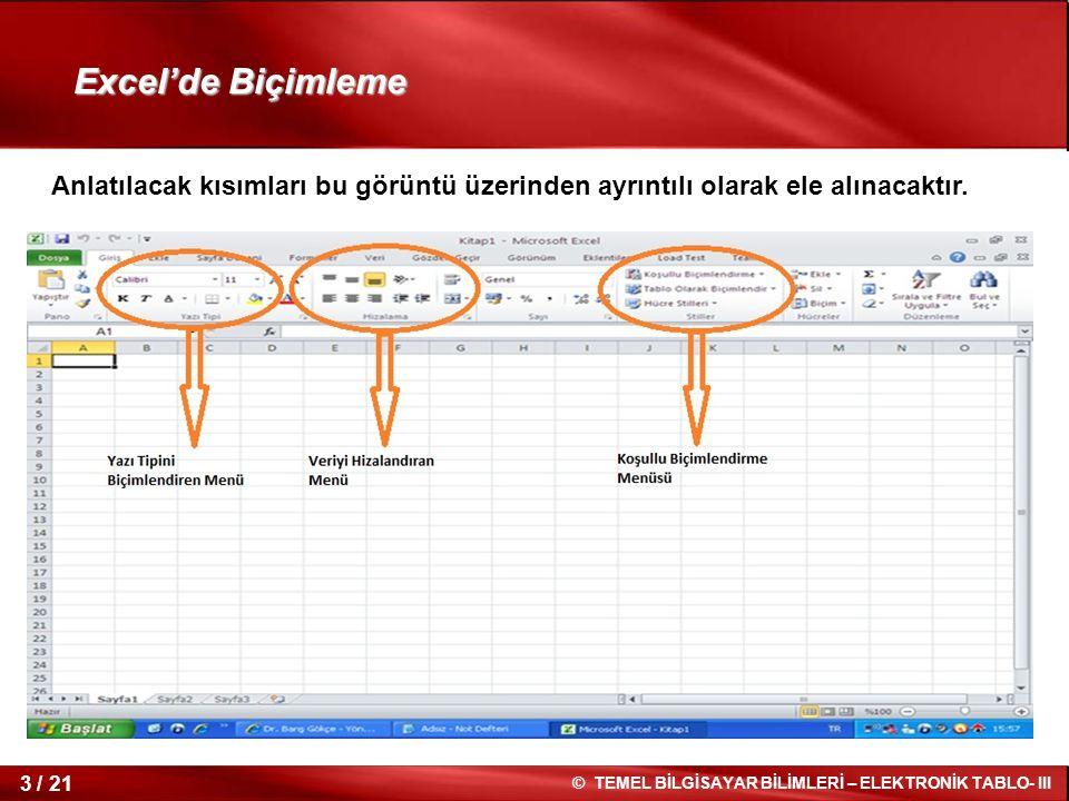 Excel'de Biçimleme Anlatılacak kısımları bu görüntü üzerinden ayrıntılı olarak ele alınacaktır.