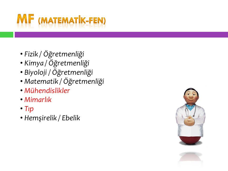 MF (MATEMATİK-FEN) Fizik / Öğretmenliği Kimya / Öğretmenliği