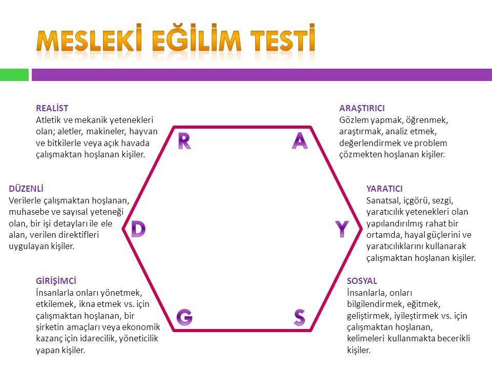 MESLEKİ EğİLİM TESTİ R A D Y G S REALİST