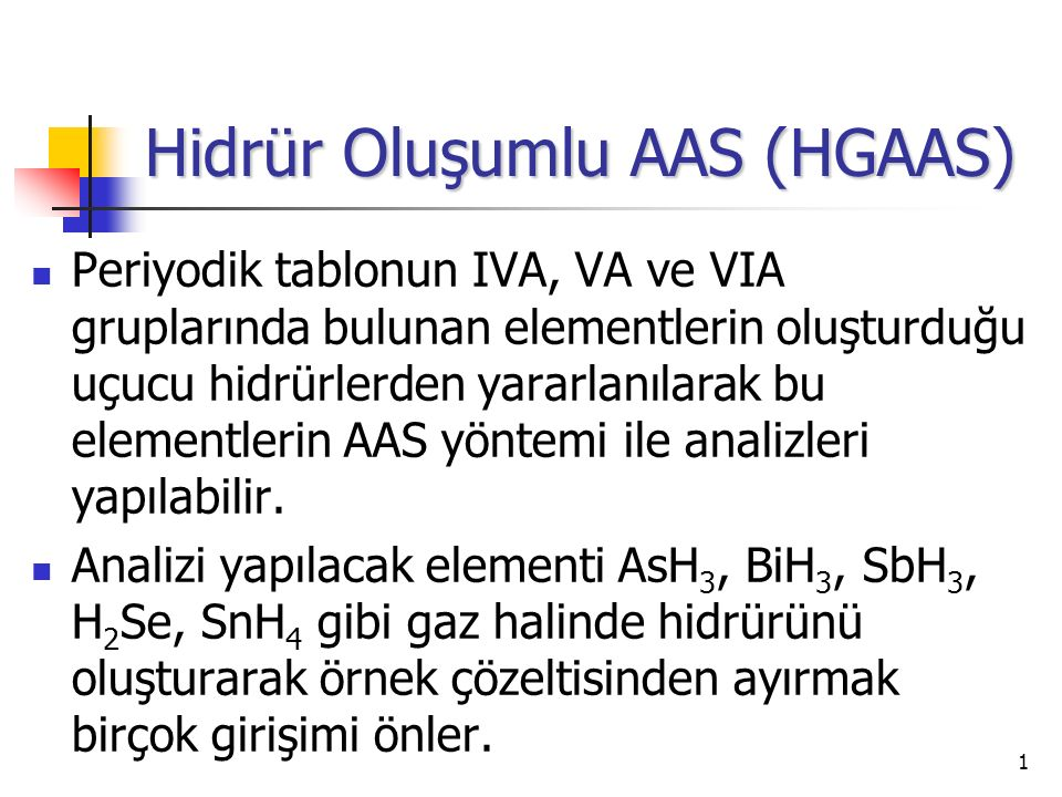 Hidrür Oluşumlu AAS (HGAAS)