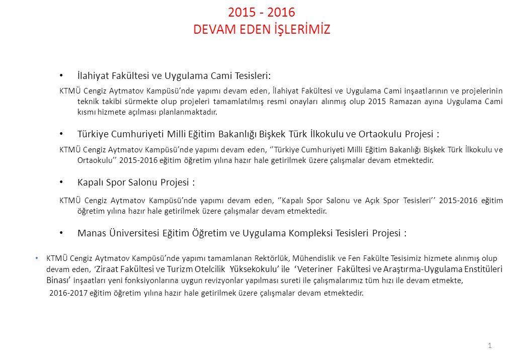 2015 - 2016 DEVAM EDEN İŞLERİMİZ İlahiyat Fakültesi ve Uygulama Cami Tesisleri: