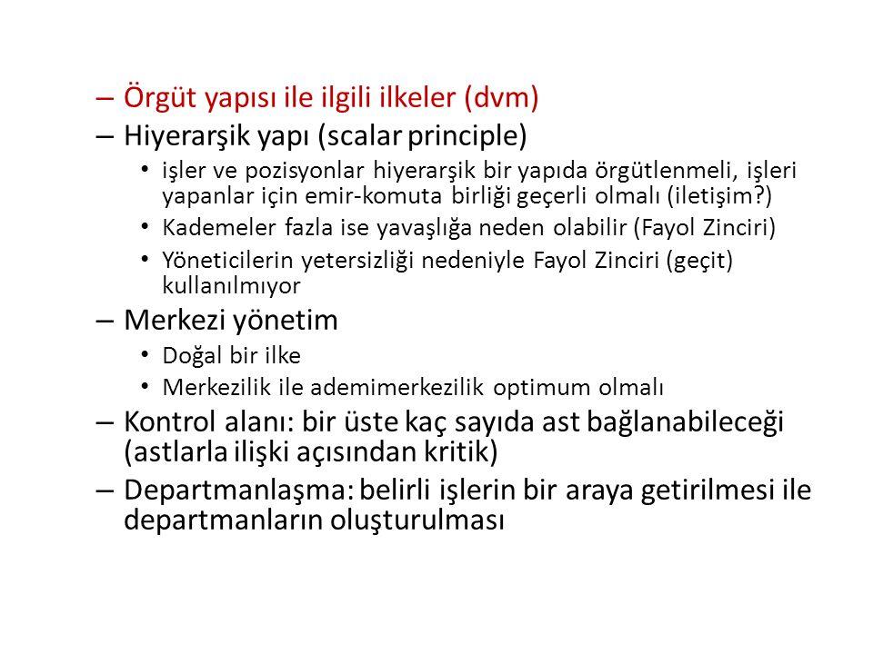 Örgüt yapısı ile ilgili ilkeler (dvm)