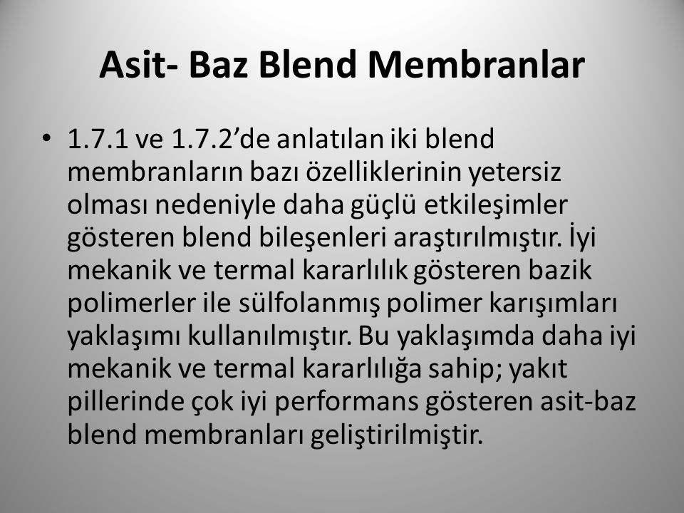 Asit- Baz Blend Membranlar
