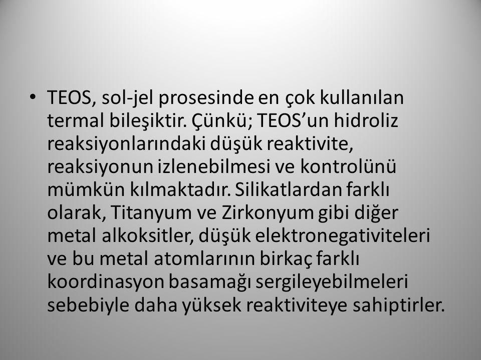 TEOS, sol-jel prosesinde en çok kullanılan termal bileşiktir