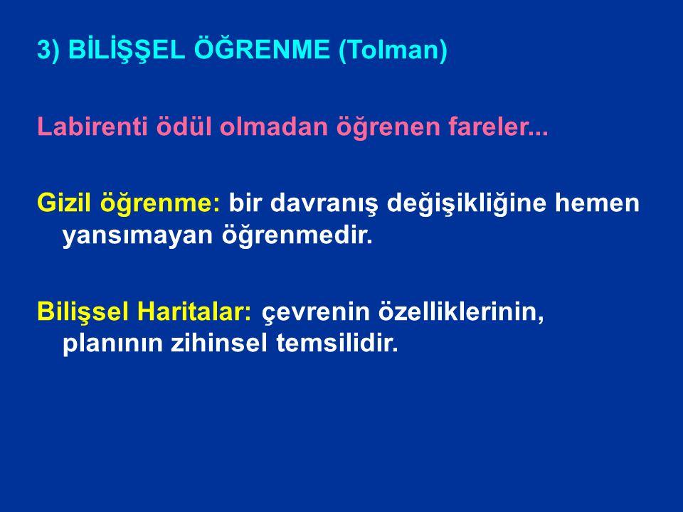 3) BİLİŞŞEL ÖĞRENME (Tolman)