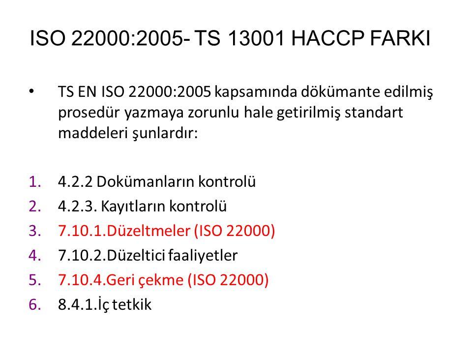ISO 22000:2005- TS 13001 HACCP FARKI