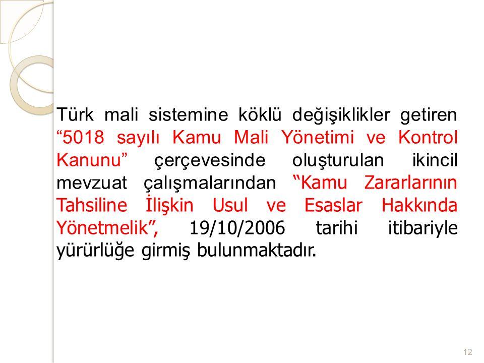 Türk mali sistemine köklü değişiklikler getiren 5018 sayılı Kamu Mali Yönetimi ve Kontrol Kanunu çerçevesinde oluşturulan ikincil mevzuat çalışmalarından Kamu Zararlarının Tahsiline İlişkin Usul ve Esaslar Hakkında Yönetmelik , 19/10/2006 tarihi itibariyle yürürlüğe girmiş bulunmaktadır.