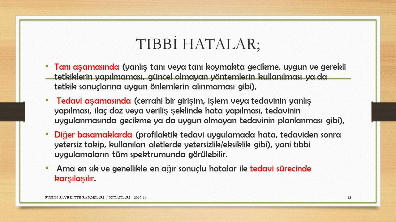 TIBBİ HATALAR;