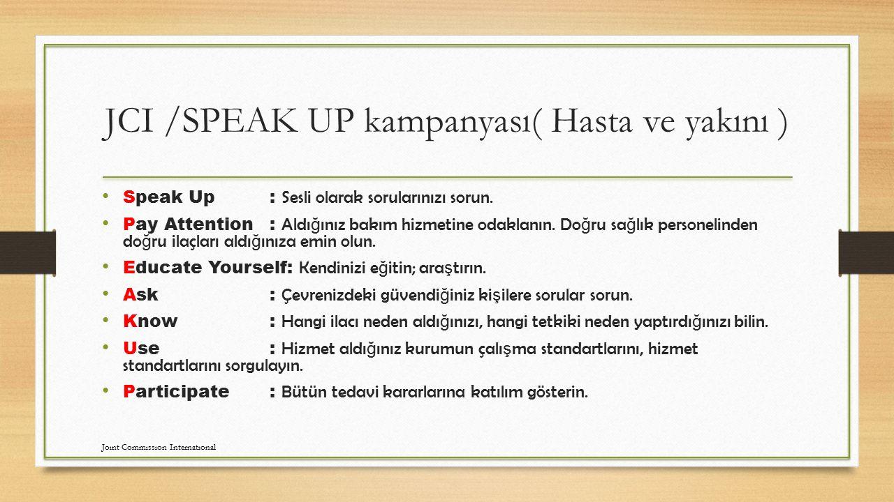 JCI /SPEAK UP kampanyası( Hasta ve yakını )
