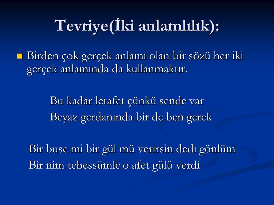 Tevriye(İki anlamlılık):