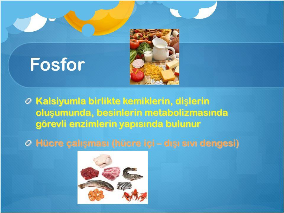 Fosfor Kalsiyumla birlikte kemiklerin, dişlerin oluşumunda, besinlerin metabolizmasında görevli enzimlerin yapısında bulunur.