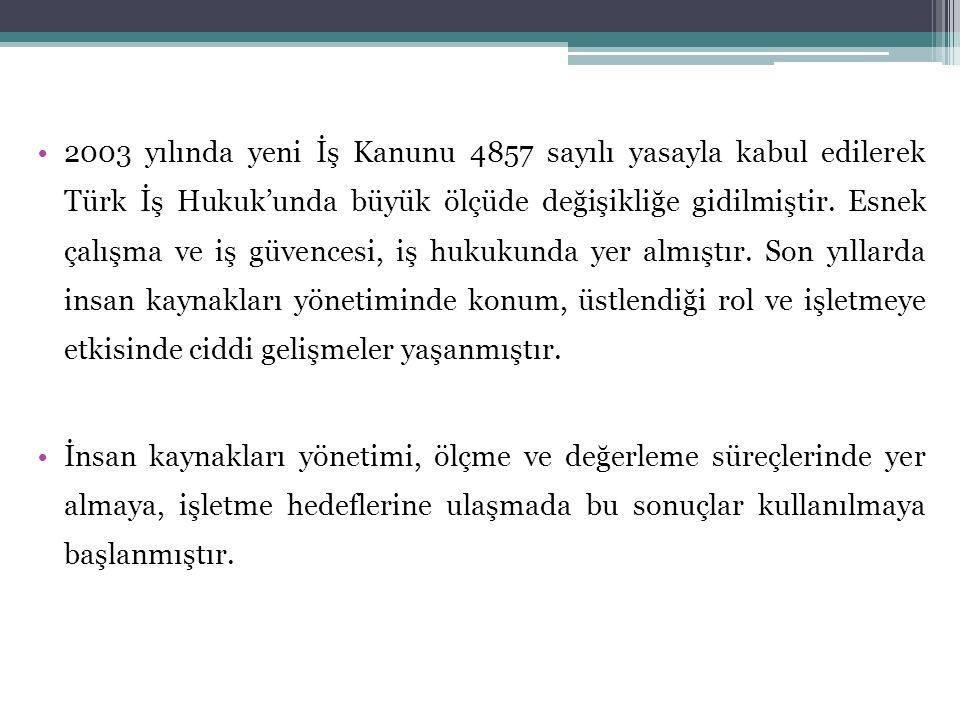 2003 yılında yeni İş Kanunu 4857 sayılı yasayla kabul edilerek Türk İş Hukuk'unda büyük ölçüde değişikliğe gidilmiştir. Esnek çalışma ve iş güvencesi, iş hukukunda yer almıştır. Son yıllarda insan kaynakları yönetiminde konum, üstlendiği rol ve işletmeye etkisinde ciddi gelişmeler yaşanmıştır.
