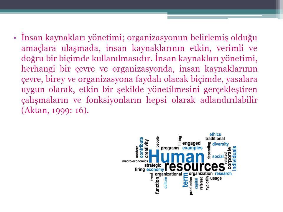 İnsan kaynakları yönetimi; organizasyonun belirlemiş olduğu amaçlara ulaşmada, insan kaynaklarının etkin, verimli ve doğru bir biçimde kullanılmasıdır.