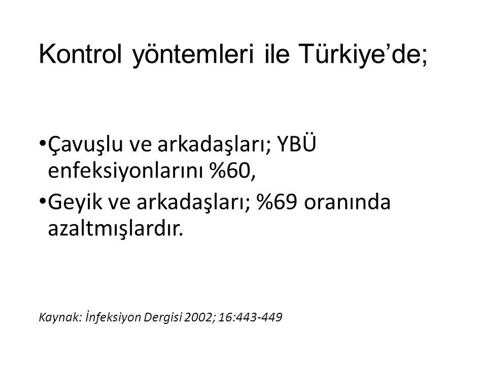 Kontrol yöntemleri ile Türkiye'de;