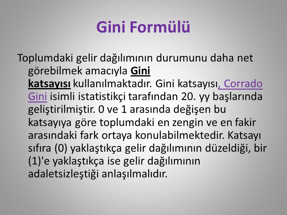 Gini Formülü