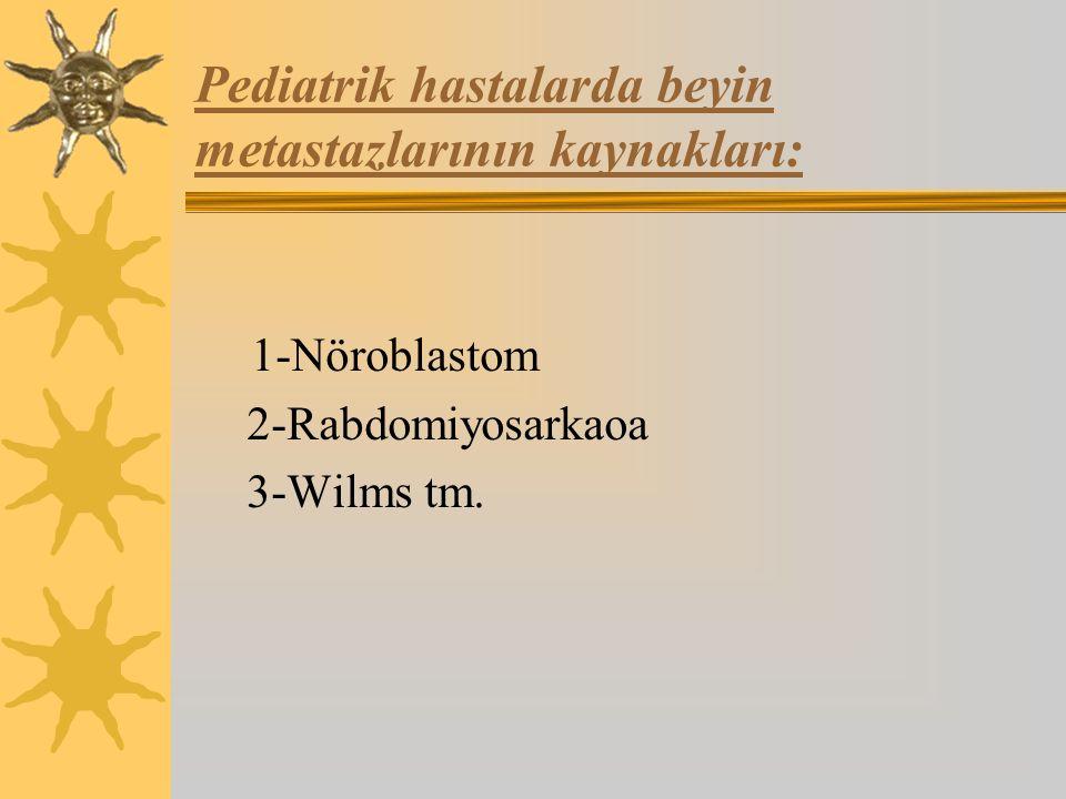 Pediatrik hastalarda beyin metastazlarının kaynakları: