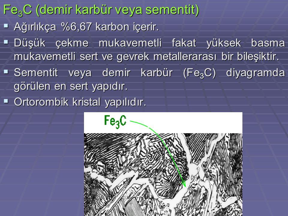 Fe3C (demir karbür veya sementit)