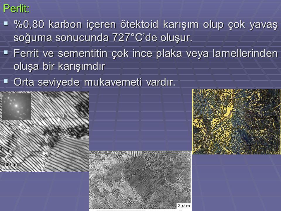 Perlit: %0,80 karbon içeren ötektoid karışım olup çok yavaş soğuma sonucunda 727°C'de oluşur.