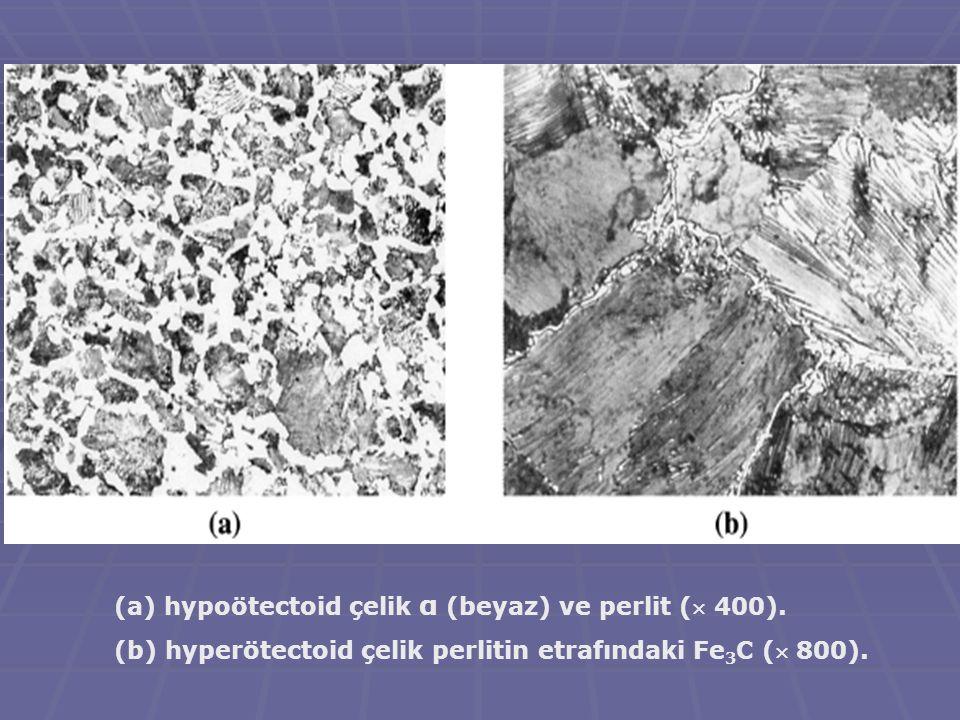 hypoötectoid çelik α (beyaz) ve perlit ( 400).