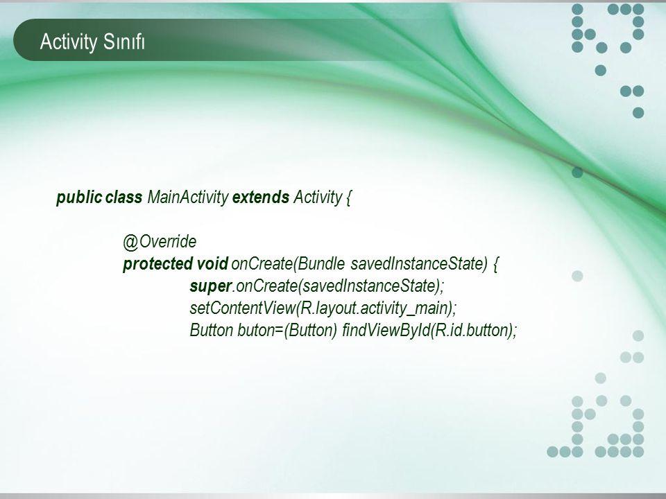 Activity Sınıfı public class MainActivity extends Activity { @Override