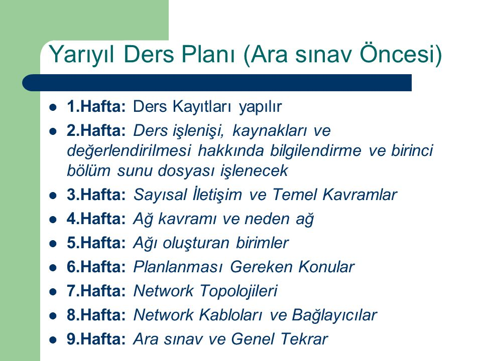 Yarıyıl Ders Planı (Ara sınav Öncesi)