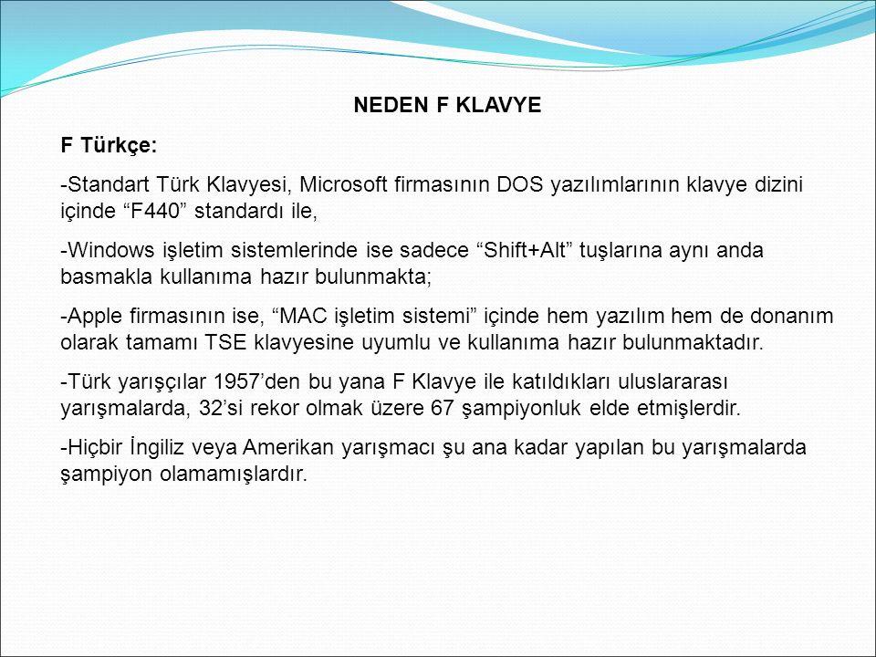 NEDEN F KLAVYE F Türkçe: -Standart Türk Klavyesi, Microsoft firmasının DOS yazılımlarının klavye dizini içinde F440 standardı ile,