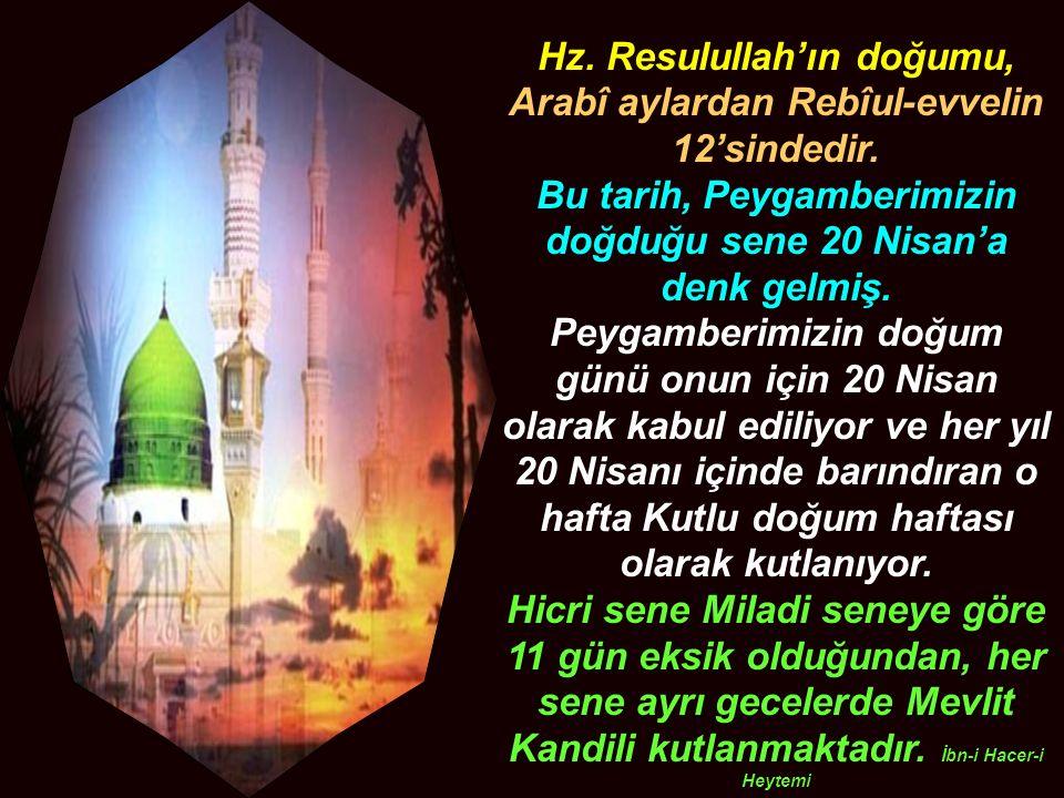 Hz. Resulullah'ın doğumu, Arabî aylardan Rebîul-evvelin 12'sindedir.