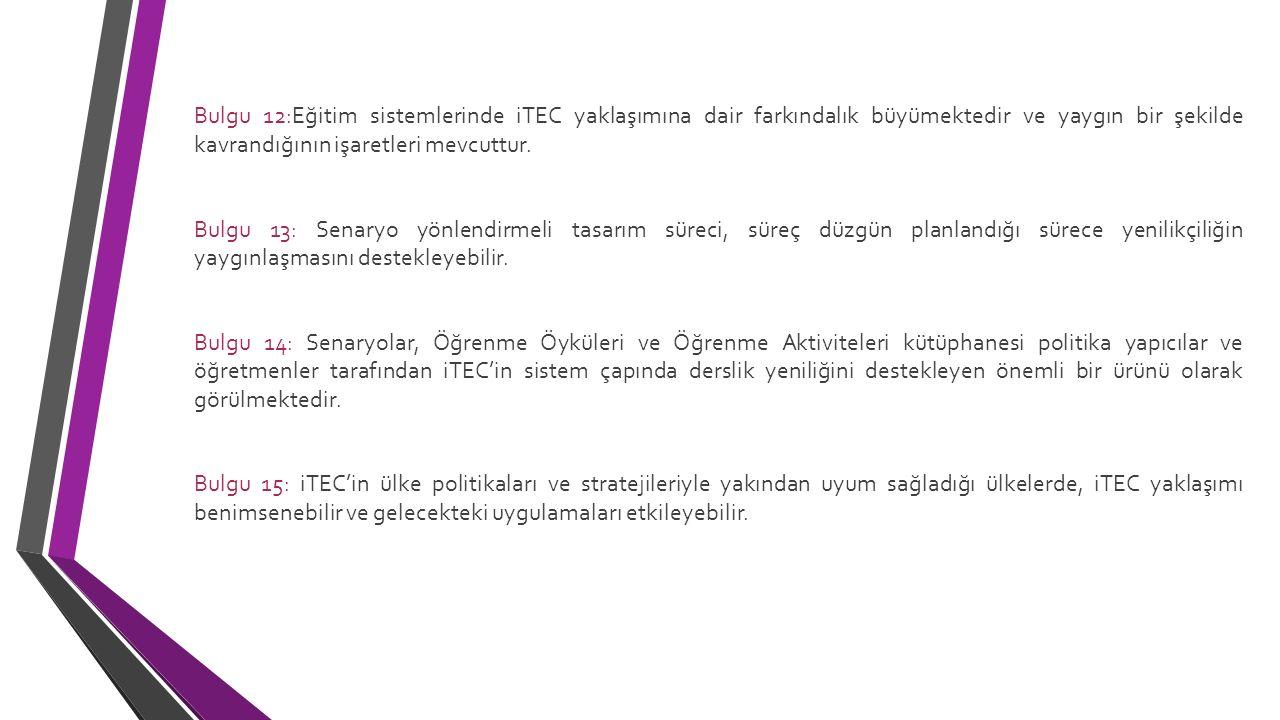 Bulgu 12:Eğitim sistemlerinde iTEC yaklaşımına dair farkındalık büyümektedir ve yaygın bir şekilde kavrandığının işaretleri mevcuttur.