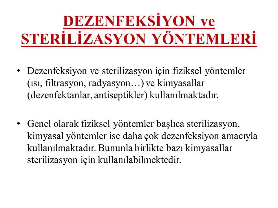 DEZENFEKSİYON ve STERİLİZASYON YÖNTEMLERİ