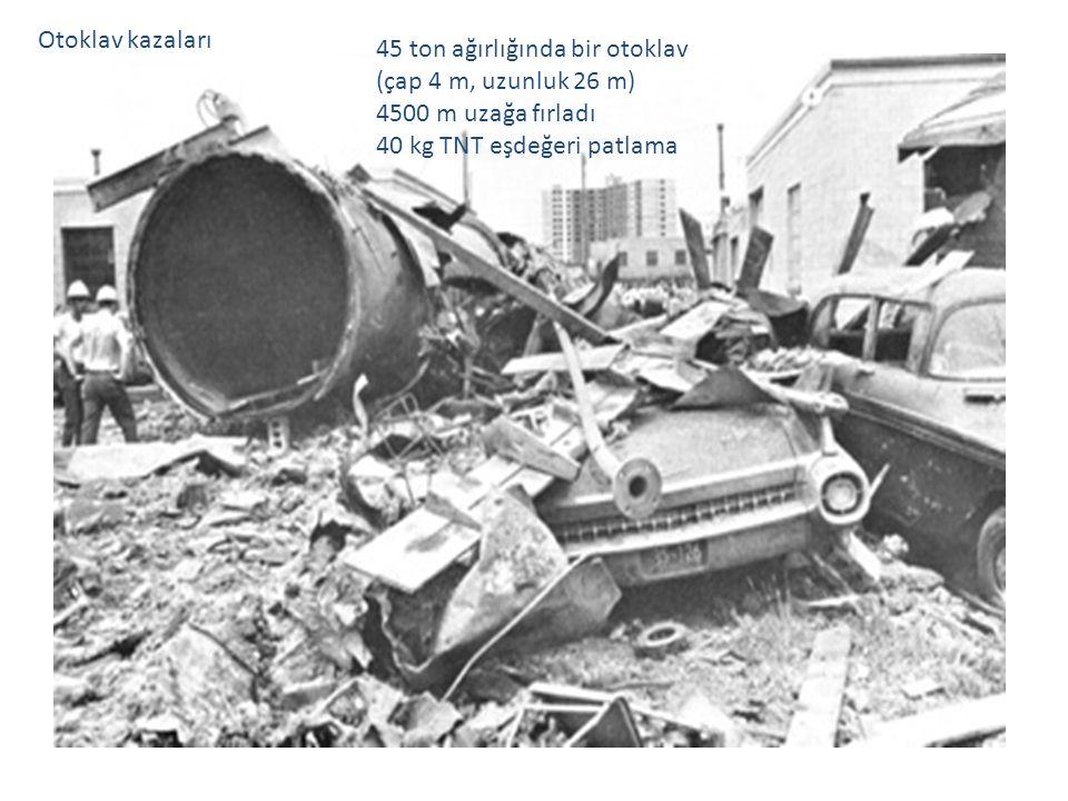 Otoklav kazaları 45 ton ağırlığında bir otoklav. (çap 4 m, uzunluk 26 m) 4500 m uzağa fırladı.