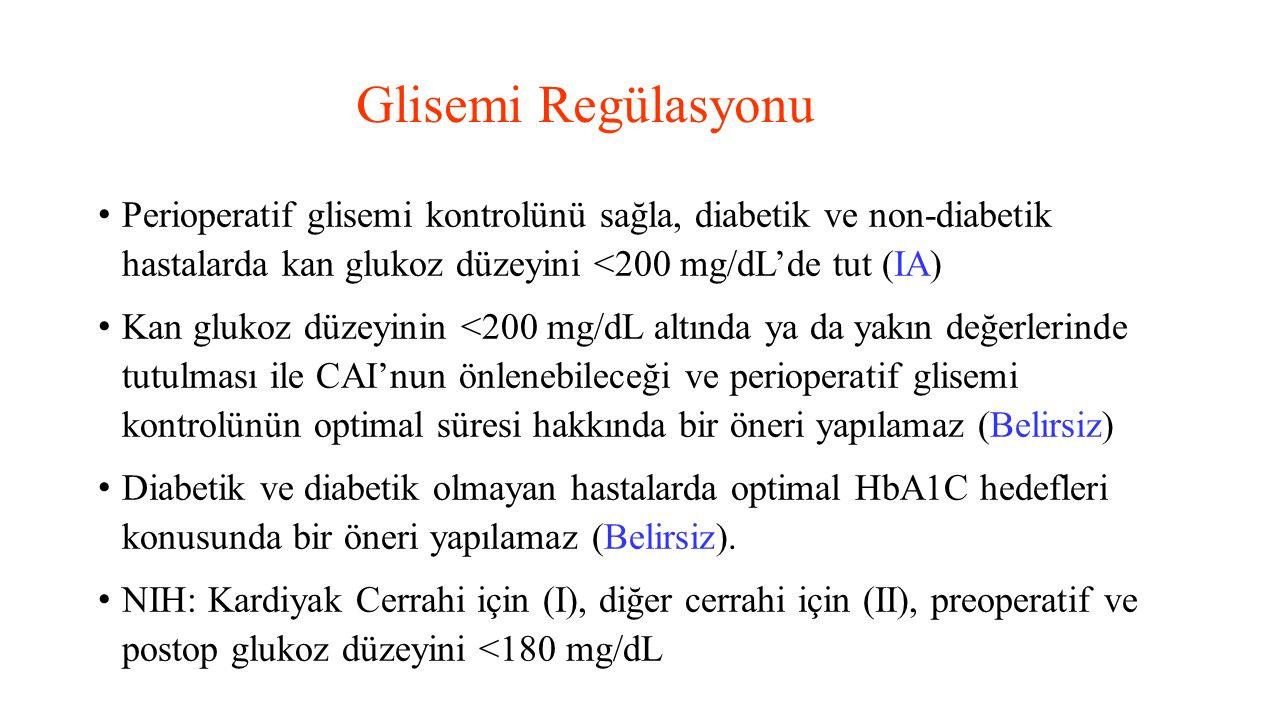 Glisemi Regülasyonu Perioperatif glisemi kontrolünü sağla, diabetik ve non-diabetik hastalarda kan glukoz düzeyini <200 mg/dL'de tut (IA)