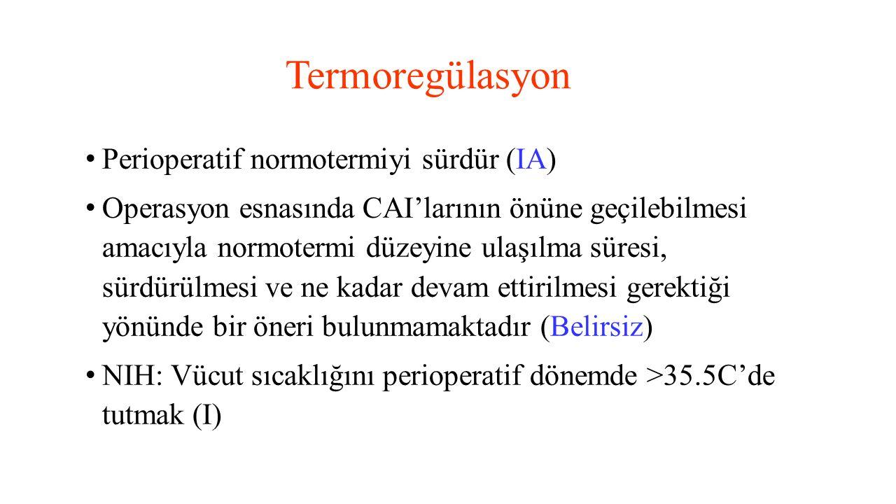 Termoregülasyon Perioperatif normotermiyi sürdür (IA)