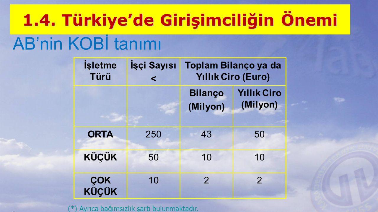 AB'nin KOBİ tanımı 1.4. Türkiye'de Girişimciliğin Önemi İşletme Türü