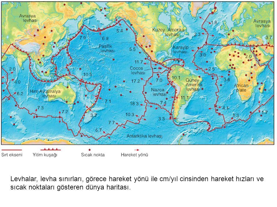 Levhalar, levha sınırları, görece hareket yönü ile cm/yıl cinsinden hareket hızları ve