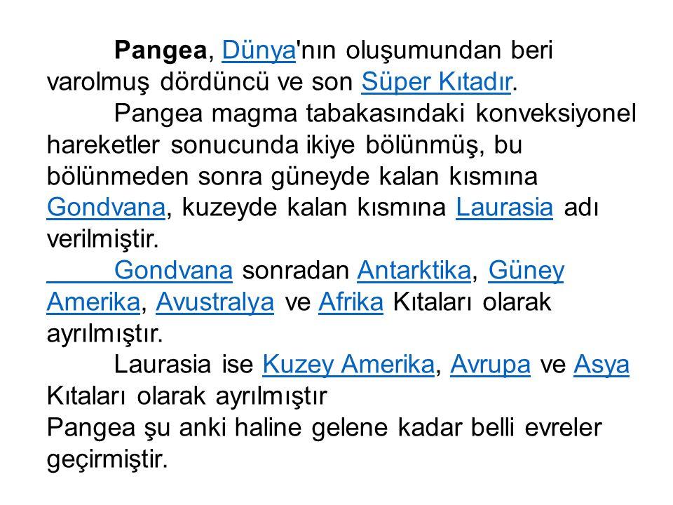 Pangea, Dünya nın oluşumundan beri varolmuş dördüncü ve son Süper Kıtadır.