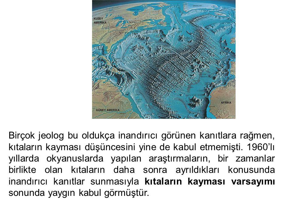 Birçok jeolog bu oldukça inandırıcı görünen kanıtlara rağmen, kıtaların kayması düşüncesini yine de kabul etmemişti.