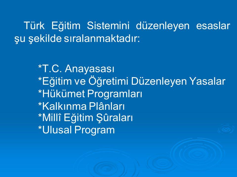 Türk Eğitim Sistemini düzenleyen esaslar şu şekilde sıralanmaktadır: